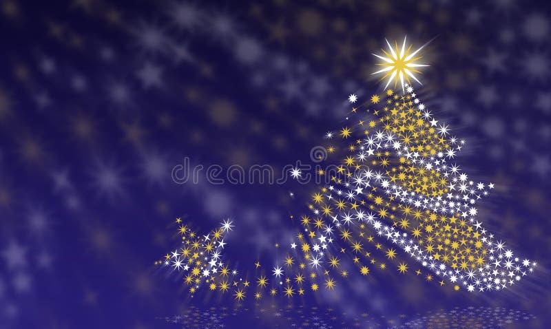 Kerstboom op een blauwe achtergrond stock afbeelding
