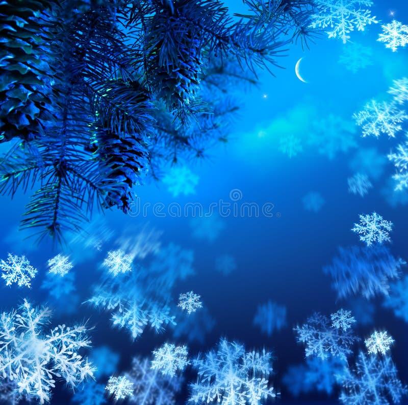 Kerstboom op een blauwe achtergrond van de nachthemel royalty-vrije stock fotografie