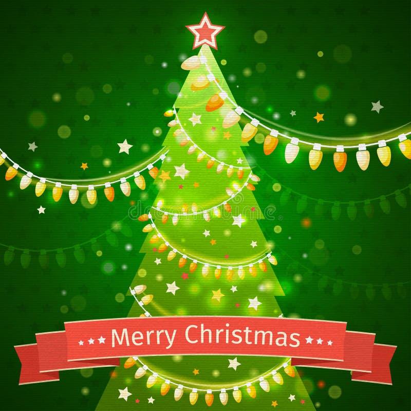 Kerstboom op een donkergroene achtergrond de vector van de canvastextuur stock illustratie