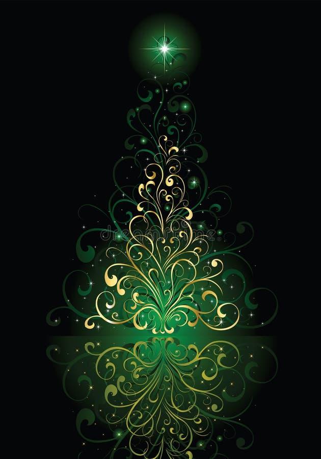 Kerstboom op groene achtergrond vector illustratie