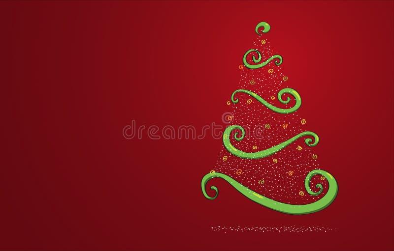 Kerstboom op rood royalty-vrije illustratie
