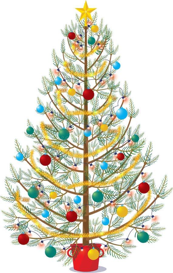 Kerstboom op witte achtergrond wordt verfraaid die vector illustratie