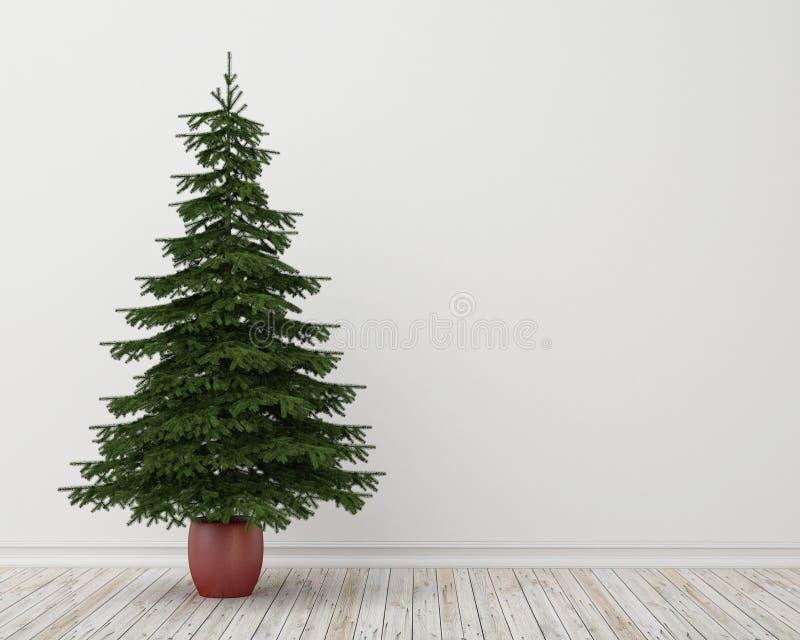 Kerstboom in ruimte met uitstekende houten vloer en witte muur, achtergrond vector illustratie