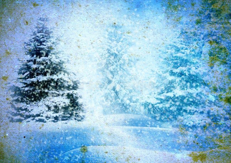 Kerstboom in sneeuw stock fotografie