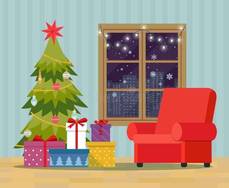 Kerstboom, Stapel van kleurrijke verpakte giftdozen en het verfraaien dichtbij het venster Kerstmisbinnenland royalty-vrije illustratie