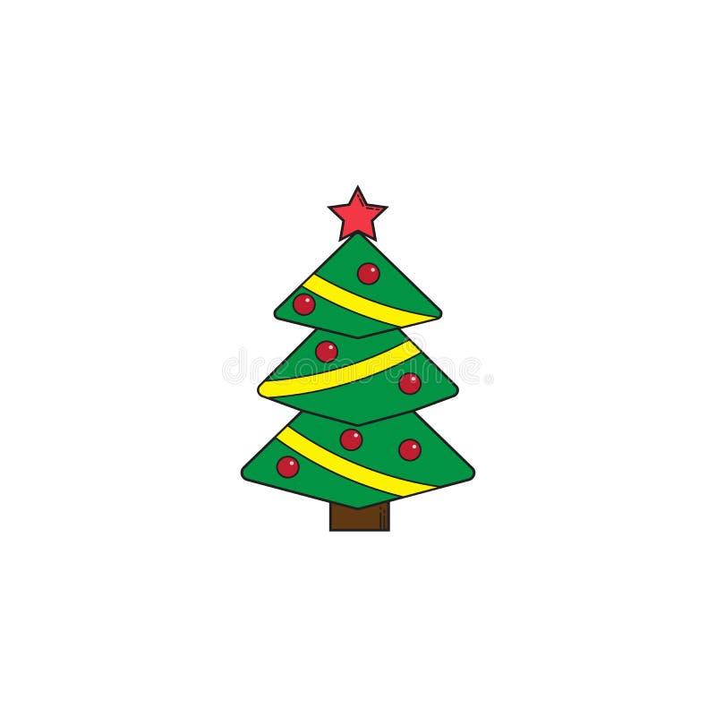 Kerstboom stevig pictogram, decoratie met ster royalty-vrije illustratie