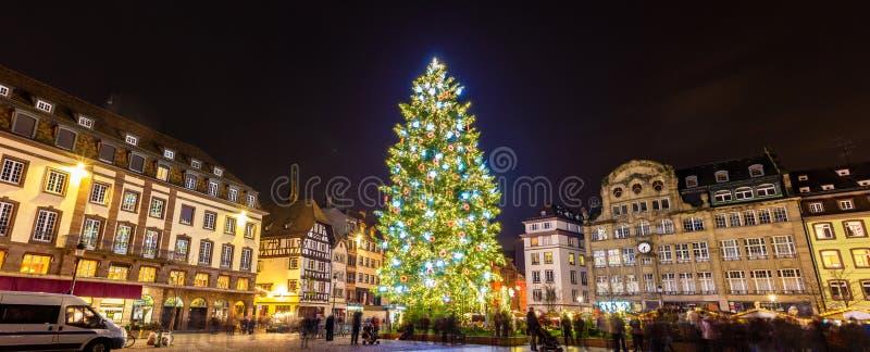 Kerstboom in Straatsburg, 2014 - de Elzas, Frankrijk royalty-vrije stock afbeelding