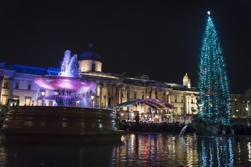 Kerstboom, Trafalgar Square bij nacht, Westminster, Londen, Engeland, het UK stock afbeeldingen