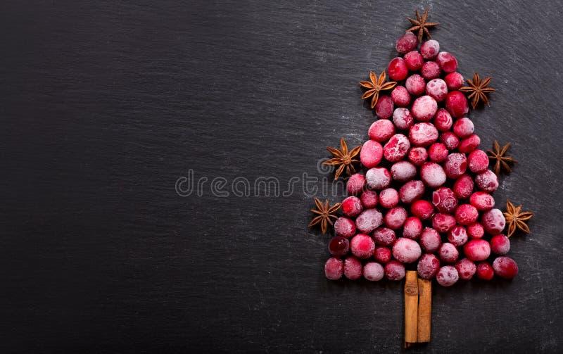 Kerstboom van bevroren Amerikaanse veenbessen wordt gemaakt die stock foto