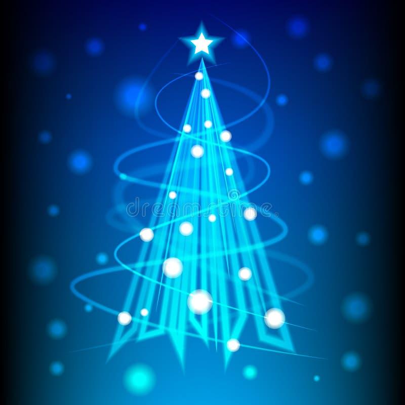 Kerstboom van blauw licht voor nieuwe jaarkaart, achtergrond vector illustratie