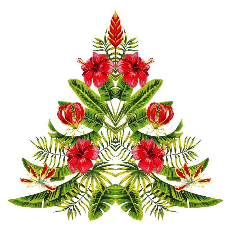 Kerstboom van exotische tropische bloemen en palmbladen wordt gemaakt dat royalty-vrije illustratie