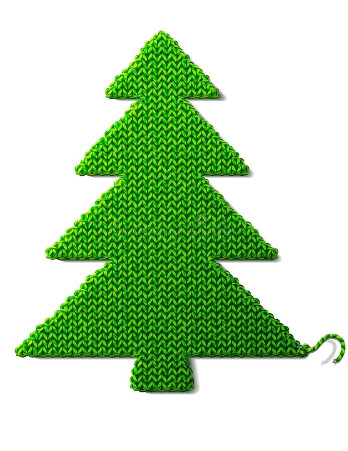 Kerstboom van gebreide die stof op wit wordt geïsoleerd vector illustratie