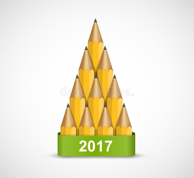 Kerstboom van gekleurd inktpotlood Achtergrondgroetkaart stock illustratie