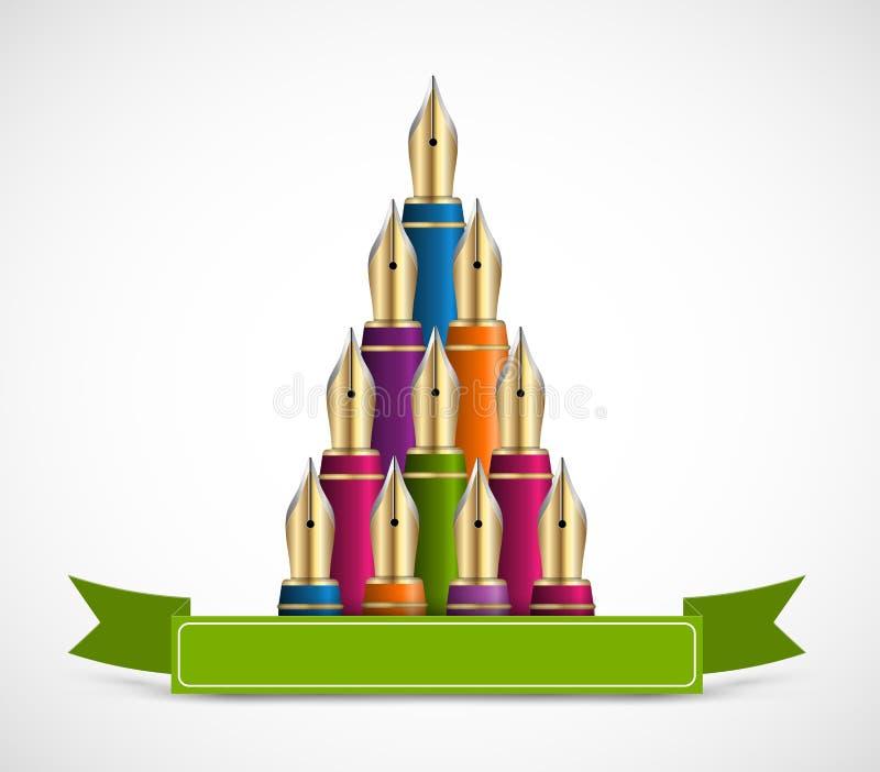 Kerstboom van gekleurde inktpen Achtergrondgroetkaart royalty-vrije illustratie