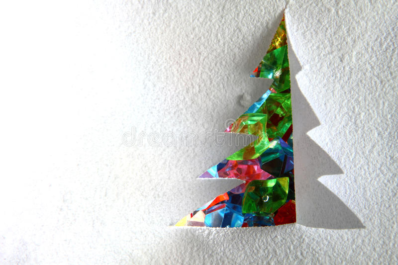 Kerstboom van het document en de sneeuw stock foto's