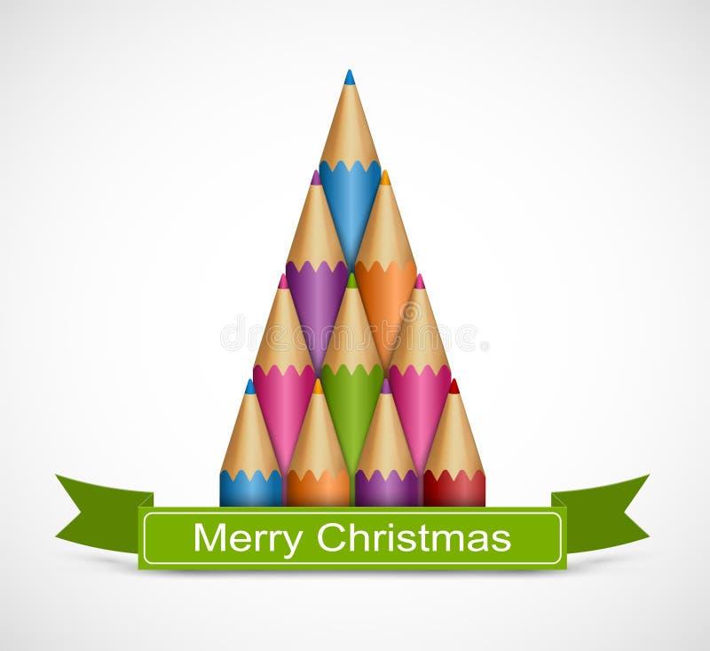 Kerstboom van kleurpotloden Achtergrondgroetkaart stock illustratie