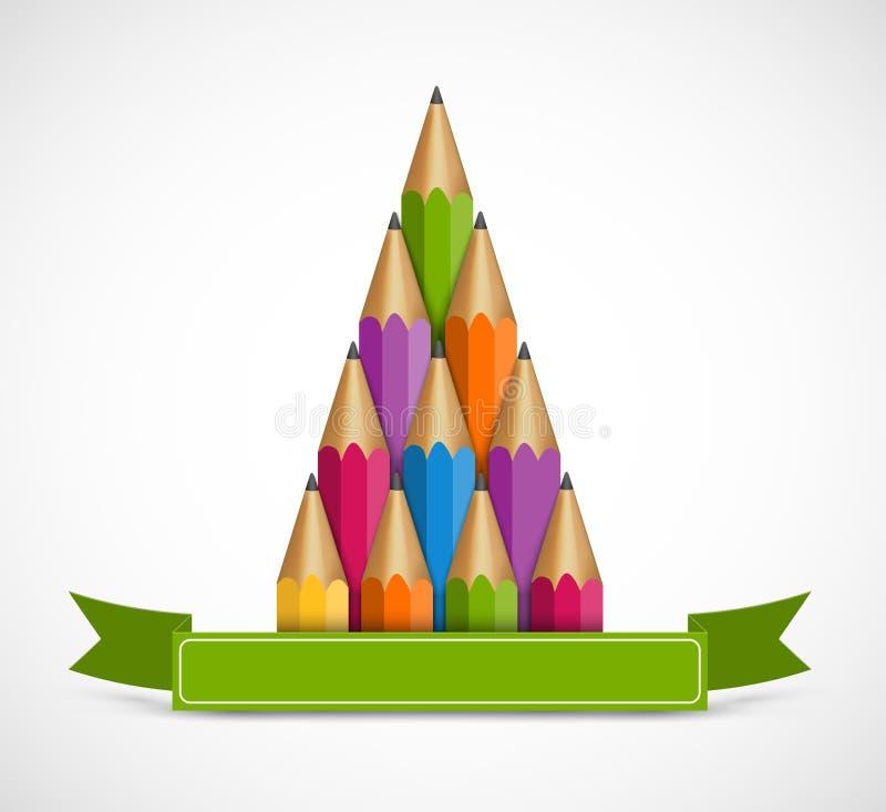 Kerstboom van kleurpotloden Achtergrondgroetkaart vector illustratie