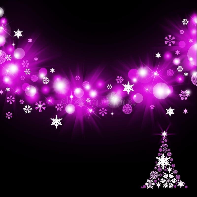 Kerstboom van magenta sneeuwvlokken royalty-vrije illustratie