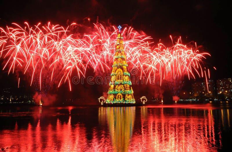 Kerstboom van Rodrigo de Freitas Lagoon stock foto's