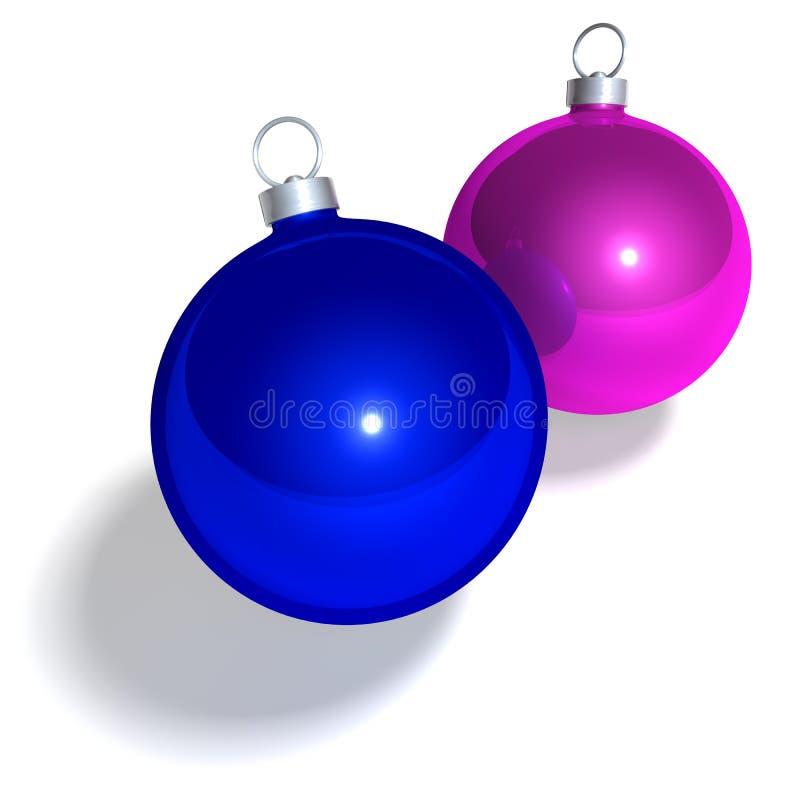 Kerstboomballen op wit royalty-vrije illustratie