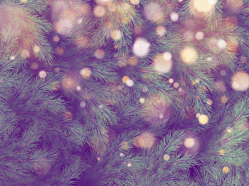 Kerstboomdecoratie met exemplaarruimte voor tekst en vage lichten Eps 10 royalty-vrije illustratie