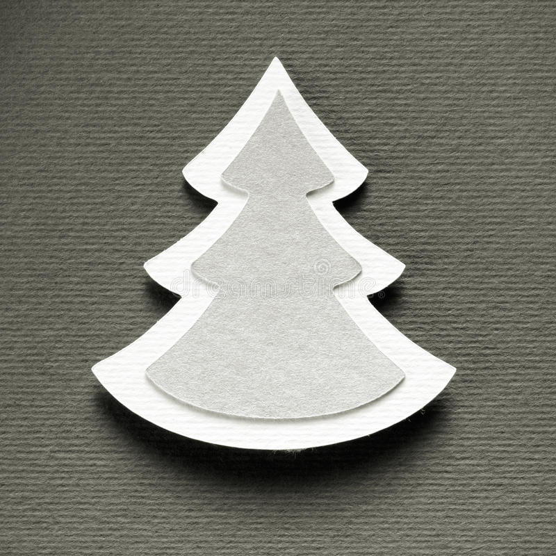 Kerstboomdocument scherpe ontwerp uitstekende zwart-wit kaart royalty-vrije stock afbeeldingen