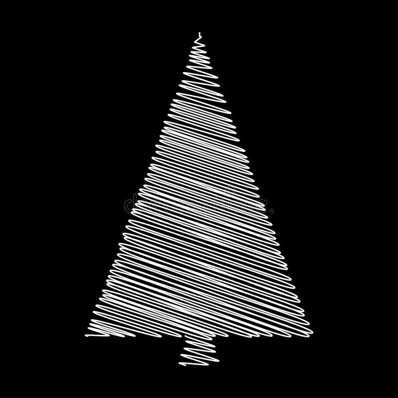Kerstboomgekrabbel vectordesign op zwarte backgroun wordt geïsoleerd die stock illustratie