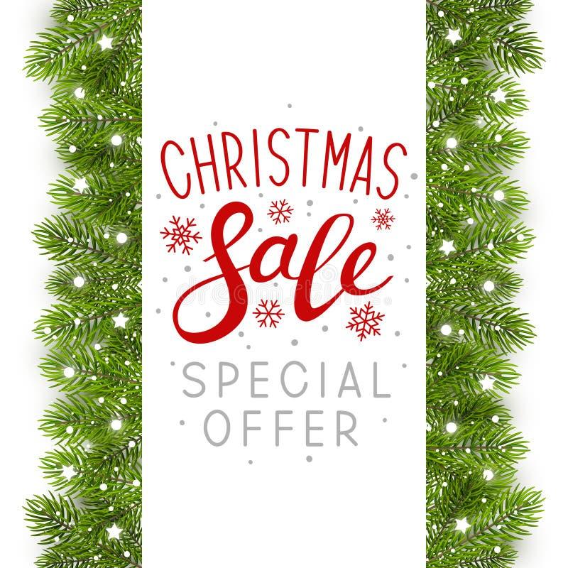 Kerstboomgrens met decor stock illustratie