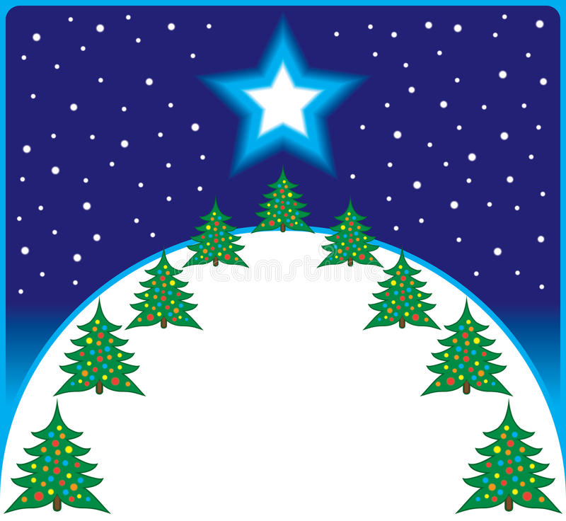 Kerstboomheuvel stock illustratie