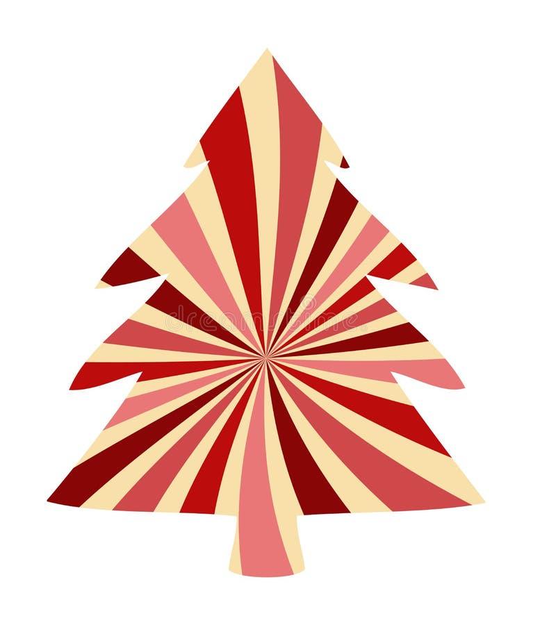 Kerstboomontwerp met roze en witte de wervelingsdecoratie van het suikergoedriet, het leuke feestelijke element van het vakantie  royalty-vrije illustratie