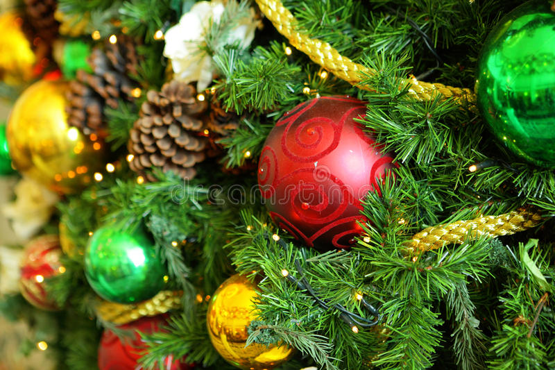 Kerstboomornamenten royalty-vrije stock afbeelding