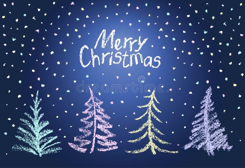 Kerstboomreeks en dalende sneeuwvlokken Als kind ` die s grappig blauw wit ontwerp trekken royalty-vrije illustratie
