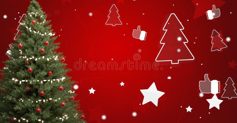 Kerstboomspar met snuisterijen en feestelijke ster en boomsilhouetten 3d-illustratie royalty-vrije illustratie