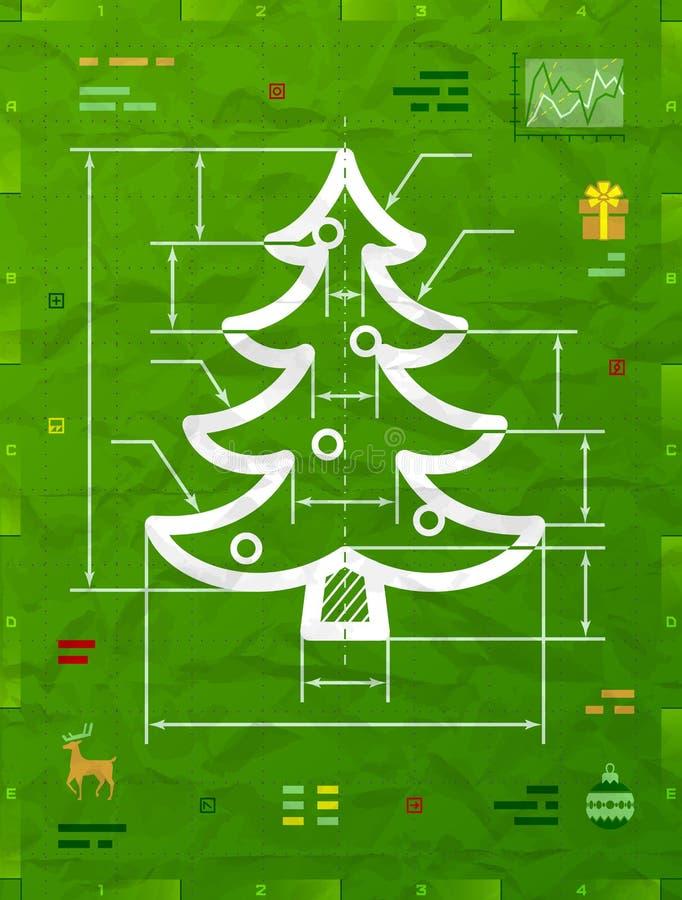 Kerstboomsymbool als technische blauwdruktekening vector illustratie