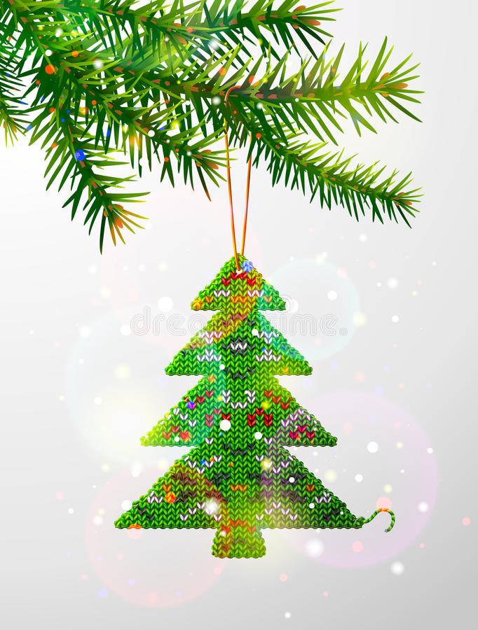 Kerstboomtak met decoratieve gebreide pijnboom royalty-vrije illustratie