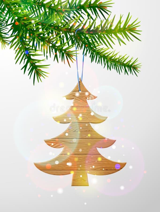 Kerstboomtak met decoratieve houten pijnboomboom royalty-vrije illustratie