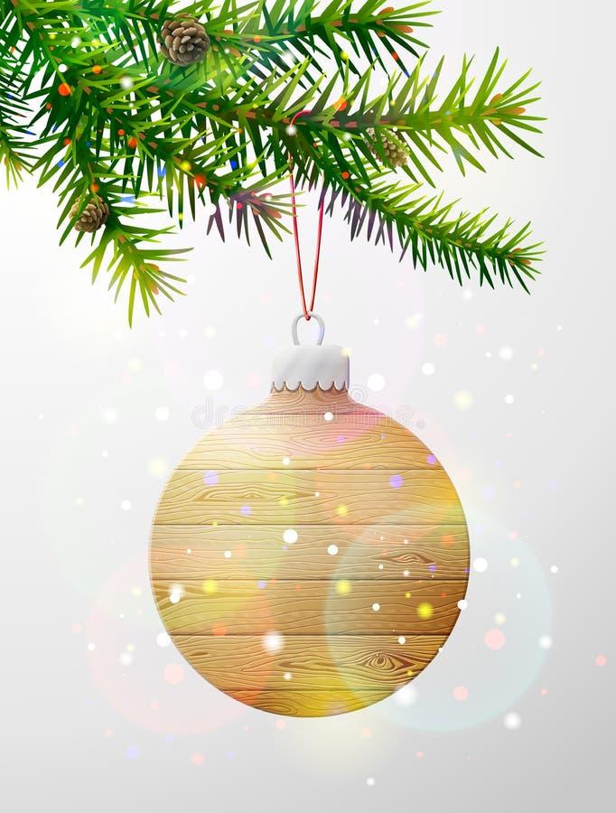 Kerstboomtak met decoratieve snuisterij van hout royalty-vrije illustratie