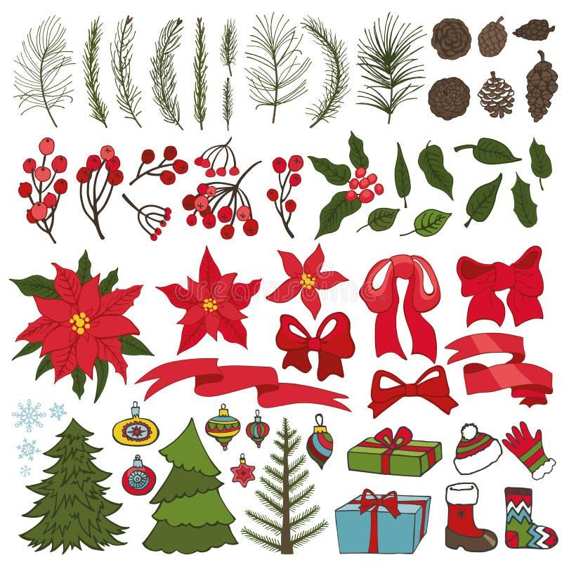 Kerstboomtakken, bloemen, decorinzameling vector illustratie