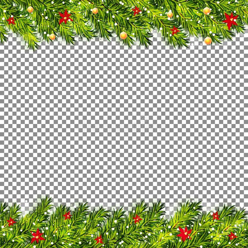 Kerstboomtakken op transparante vector als achtergrond royalty-vrije illustratie