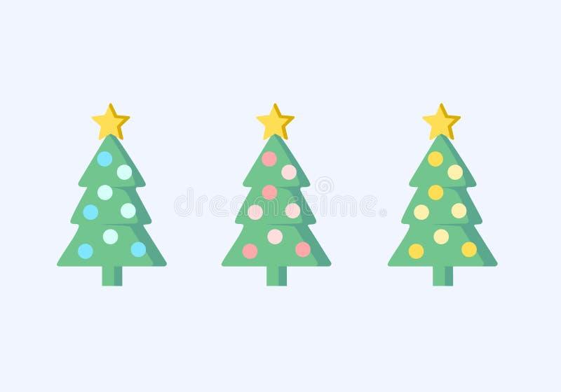 Kerstboomvector, de vastgestelde illustratie van de 3 boomkleur royalty-vrije stock foto's