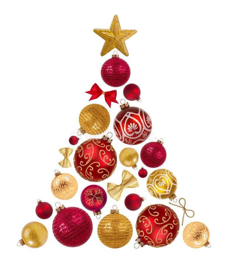 Kerstboomvorm van decoratieve ballen, bogen en ster op wit royalty-vrije stock afbeeldingen
