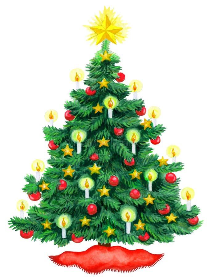 Kerstboomwaterverf royalty-vrije illustratie