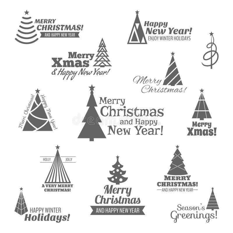 Kerstboomzegels geplaatst zwart royalty-vrije illustratie