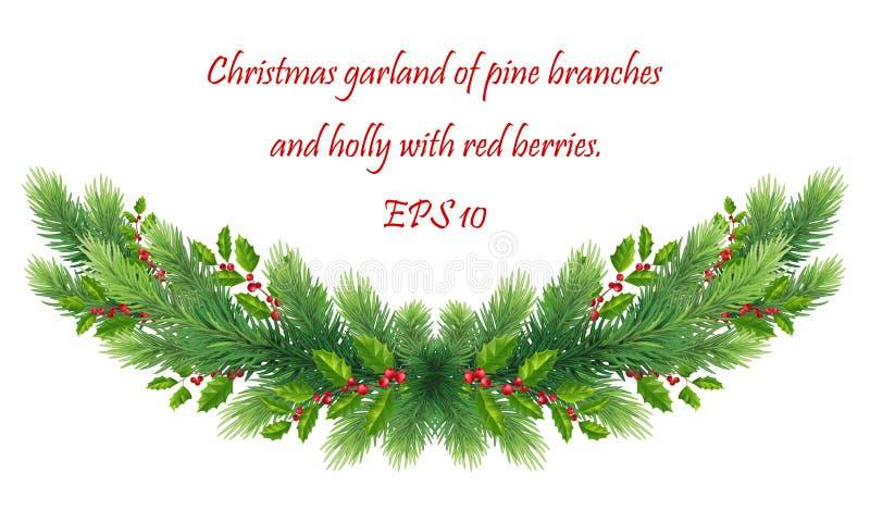 Kerstgarland met kerstboomtakken, groene holle bladeren en rode bessen deler, grens voor versieringen, kaarten, stock illustratie