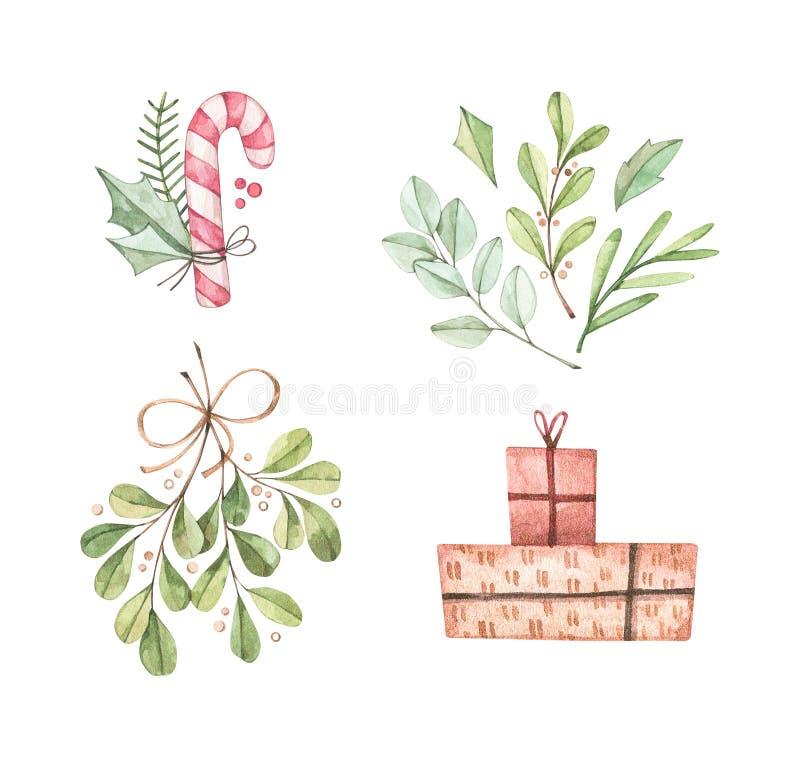 Kerstillustraties met eucalyptus, fir tak, snoepgoed, mistletoe en cadeaudozen - Afbeelding van de waterkleur Gelukkig nieuwjaar  stock illustratie