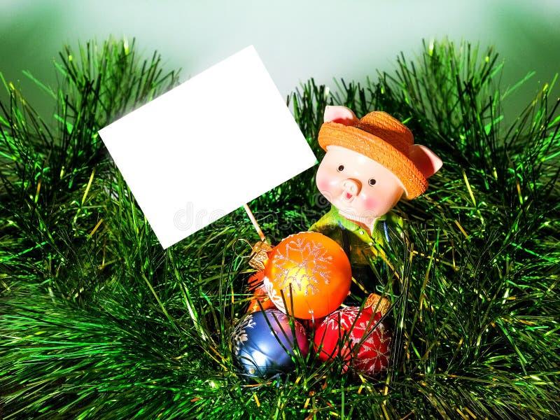 Kerstkaart, Biggetje, 2019, brief, te ondertekenen plaats stock afbeeldingen