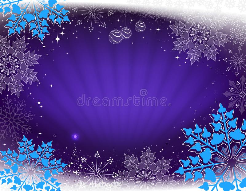Kerstkaart in blauw met stralen van licht, een kleine Kerstboom en mooie sneeuwvlokken vector illustratie