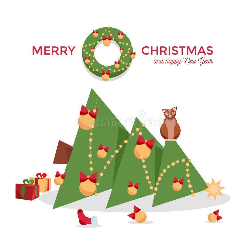 Kerstkaart - de kat liet vallen de Kerstboom en zit op het op een witte achtergrond Groetinschrijving met spar wordt verfraaid di stock illustratie