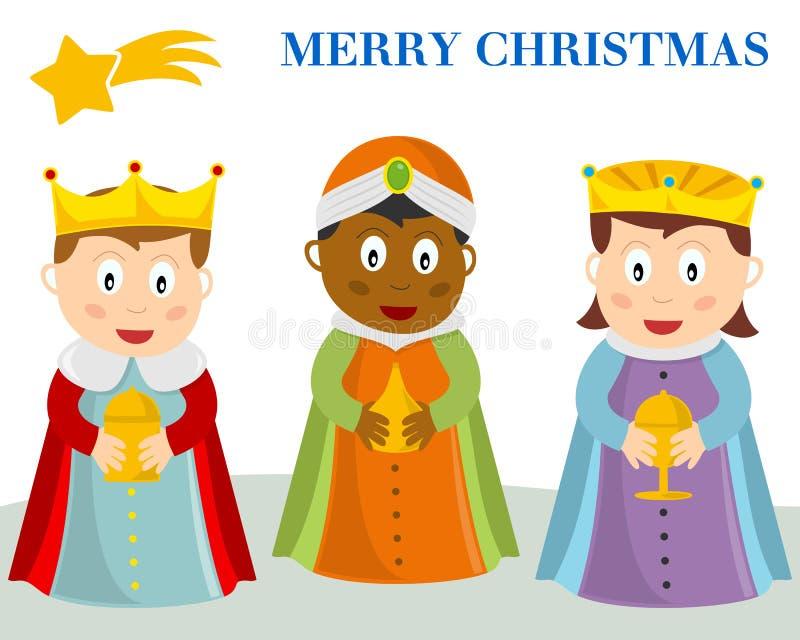 Kerstkaart drie Wisemen royalty-vrije illustratie
