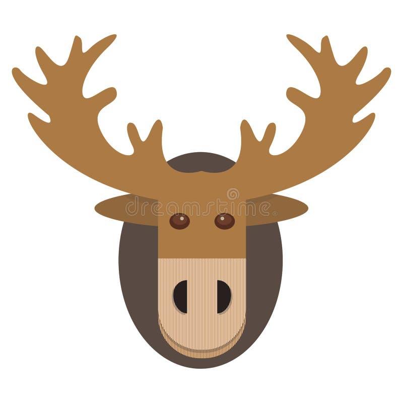 Kerstkaart en achtergrond met hertenhoofd in vectorformaat stock illustratie